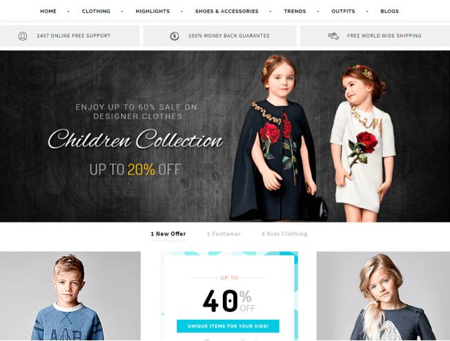 Готовый сайт интернет-магазина на тему магазин одежды для детей ... 4ba57549100