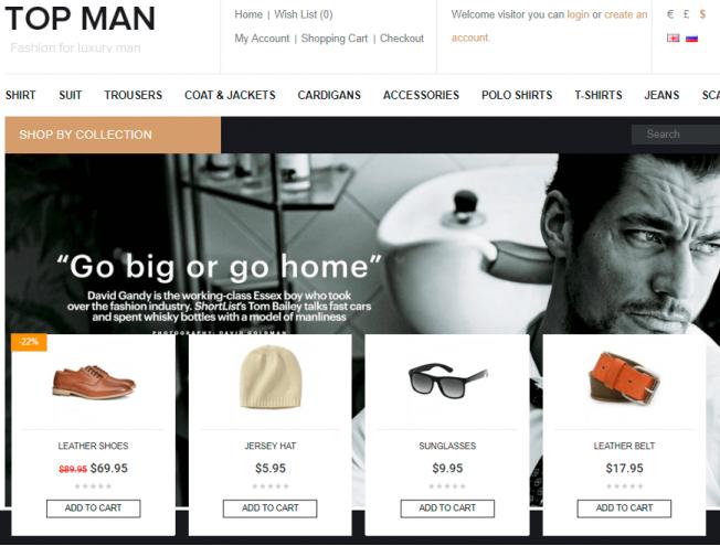 4d42dcb82b9 Готовый сайт интернет-магазина на тему магазин мужской одежды и ...
