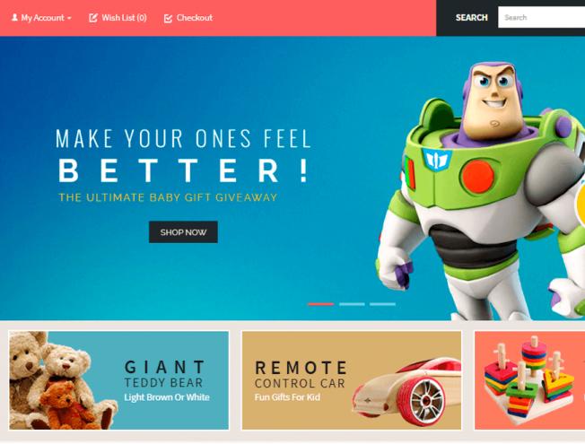 Готовый сайт интернет-магазина на тему детские игрушки - красивый ... c1ba74f6edc